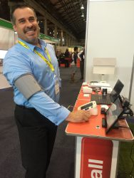 Lawrence demonstrates how to use the blood pressure cuff with the Integrated Care Platform (ICP).