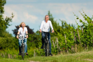 Elderly woman and elderly man bike riding through a park lined with fences and green trees